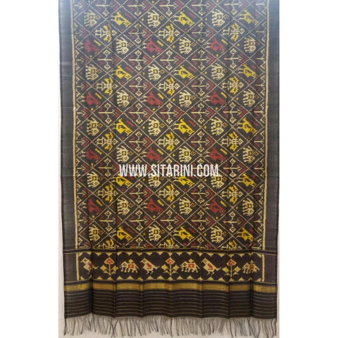 Single Ikkat Patola Silk Dupatta-Multicolour-Sitarini-SITPAD269