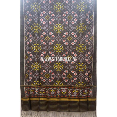 Single Ikkat Patola Silk Dupatta-Multicolour-Sitarini-SITPAD270