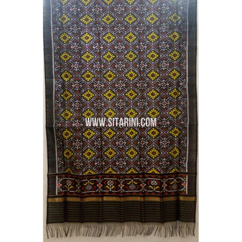 Single Ikkat Patola Silk Dupatta-Multicolour-Sitarini-SITPAD271