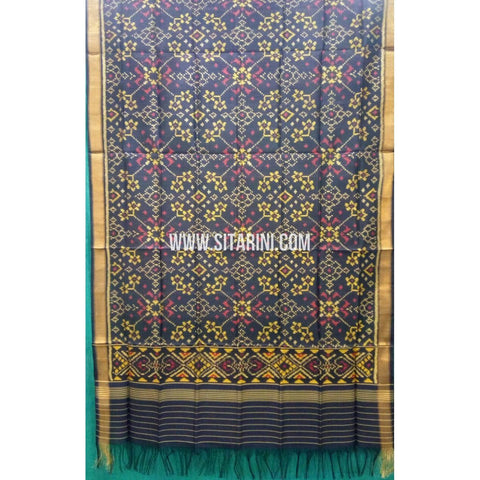 Single Ikkat Patola Silk Dupatta-Multicolour-Sitarini-SITPAD272