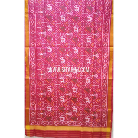 Single Ikkat Patola Silk Dupatta-Multicolour-Sitarini-SITPAD273