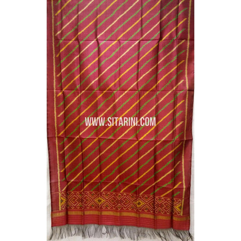 Single Ikkat Patola Silk Dupatta-Multicolour-Sitarini-SITPAD274