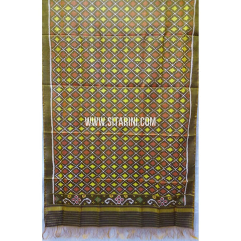 Single Ikkat Patola Silk Dupatta-Multicolour-Sitarini-SITPAD275