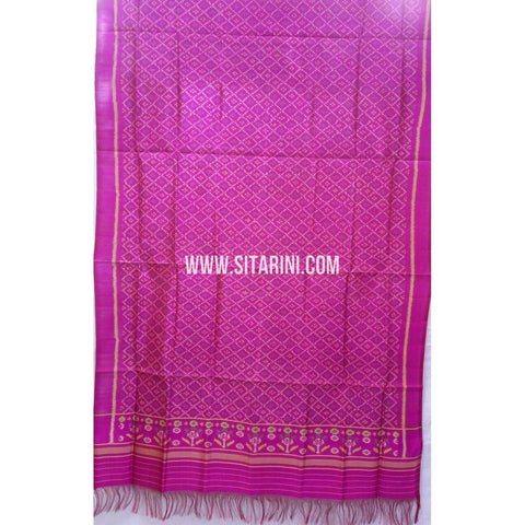 Single Ikkat Patola Silk Dupatta-Multicolour-Sitarini-SITPAD276