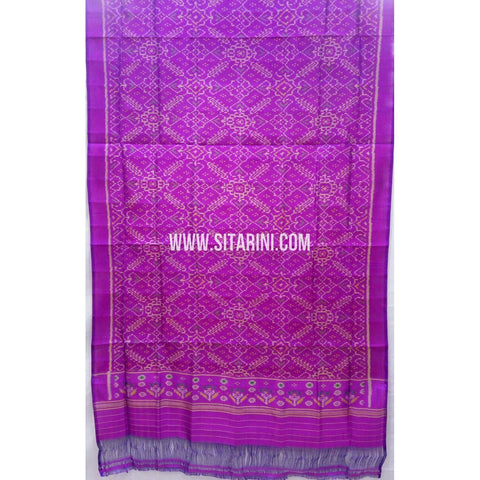 Single Ikkat Patola Silk Dupatta-Multicolour-Sitarini-SITPAD277