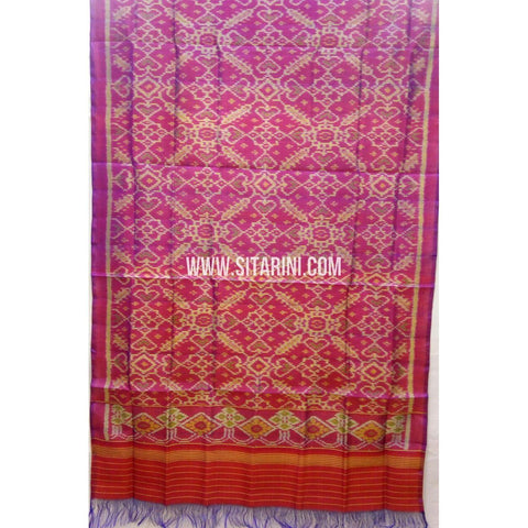 Single Ikkat Patola Silk Dupatta-Multicolour-Sitarini-SITPAD282