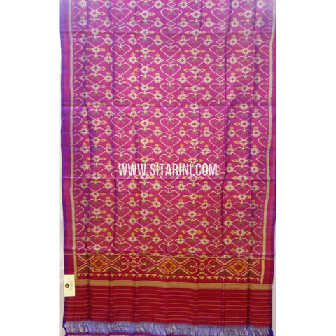 Single Ikkat Patola Silk Dupatta-Multicolour-Sitarini-SITPAD284