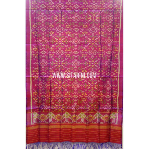 Single Ikkat Patola Silk Dupatta-Multicolour-Sitarini-SITPAD285