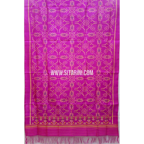 Single Ikkat Patola Silk Dupatta-Multicolour-Sitarini-SITPAD286