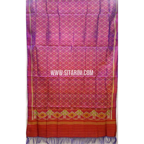 Single Ikkat Patola Silk Dupatta-Multicolour-Sitarini-SITPAD287