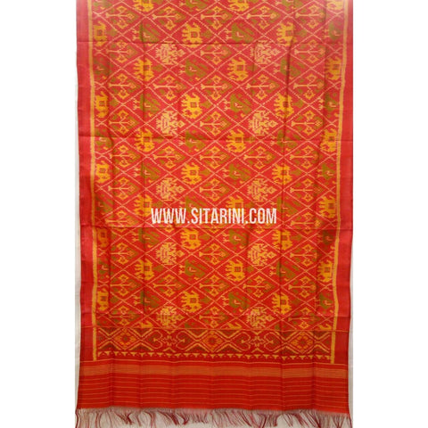 Single Ikkat Patola Silk Dupatta-Multicolour-Sitarini-SITPAD288