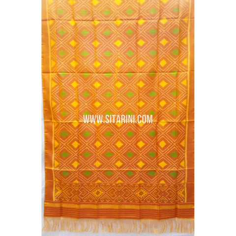 Single Ikkat Patola Silk Dupatta-Multicolour-Sitarini-SITPAD291
