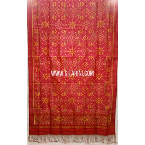 Single Ikkat Patola Silk Dupatta-Multicolour-Sitarini-SITPAD292