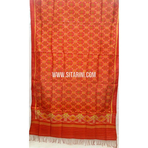 Single Ikkat Patola Silk Dupatta-Multicolour-Sitarini-SITPAD293