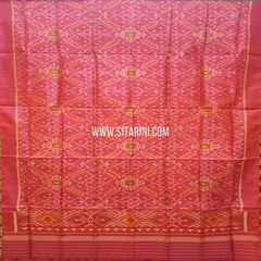 Single Ikkat Patola Silk Dupatta-Multicolour-Sitarini-SITPAD294