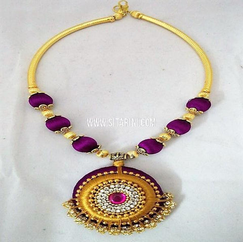 Thread Jewellery Sets-Silk-Violet-Sitarini-SITSTJS158