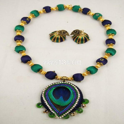 Thread Jewelry Sets-Silk-Blue and Sea Green-Sitarini-SITSTJS151