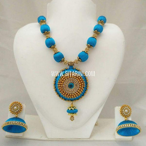 Thread Jewelry Sets-Silk-Blue-Sitarini-SITSTJS155