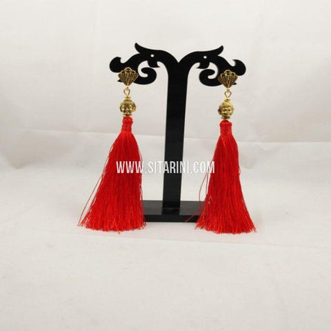 Thread Jhumkas-Silk-Red-Sitarini-SITSTJ152