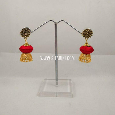 Thread Jhumkas-Silk-Red-Sitarini-SITSTJ153
