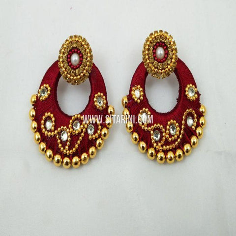 Thread Jhumkas-Silk-Red-Sitarini-SITSTJ154
