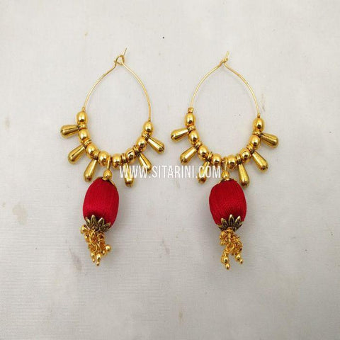 Thread Jhumkas-Silk-Red-Sitarini-SITSTJ155