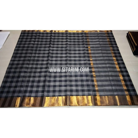 Uppada Checks Cotton Saree-Black-Sitarini-USRHUCS171