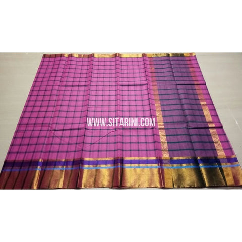 Uppada Checks Cotton Saree-Pink-Sitarini-USRHUCS163