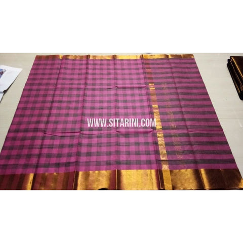 Uppada Checks Cotton Saree-Purple-Sitarini-USRHUCS174