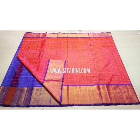 Uppada Checks Silk Saree with Big Border-Blue and Peach-Sitarini-USRHUPS153