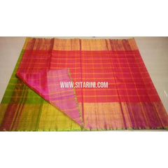 Uppada Checks Silk Saree with Big Border-Green and Pink-Sitarini-USRHUPS139