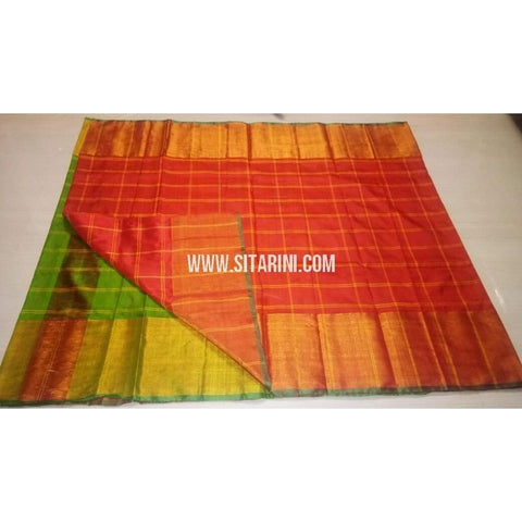 Uppada Checks Silk Saree with Big Border-Green and Red-Sitarini-USRHUPS138