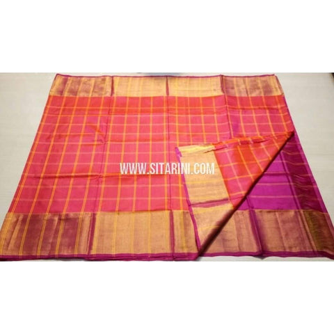 Uppada Checks Silk Saree with Big Border-Orange and Purple-Sitarini-USRHUPS137