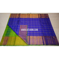 Uppada Checks Silk Saree with Big Border-Parrot Green and Blue-Sitarini-USRHUPS144