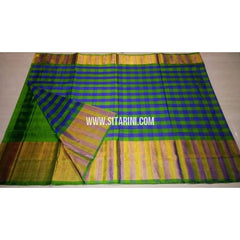 Uppada Checks Silk Saree with Big Border-Parrot Green and Blue-Sitarini-USRHUPS146