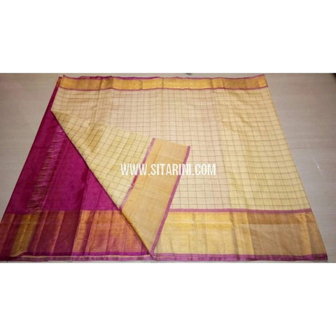 Uppada Checks Silk Saree with Big Border-Pink and Cream-Sitarini-USRHUPS156