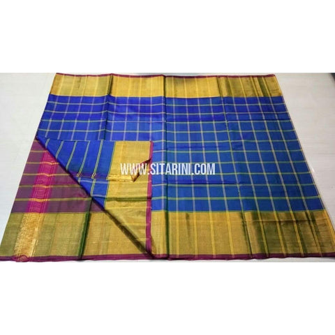 Uppada Checks Silk Saree with Big Border-Purple and Blue-Sitarini-USRHUPS150