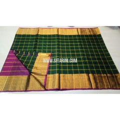 Uppada Checks Silk Saree with Big Border-Purple and Bottle Green-Sitarini-USRHUPS143