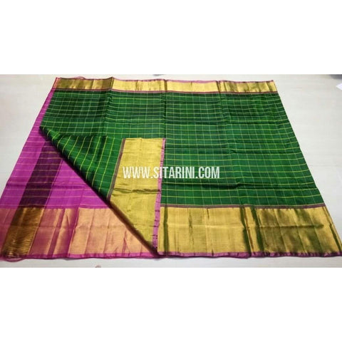 Uppada Checks Silk Saree with Big Border-Purple and Bottle Green-Sitarini-USRHUPS151