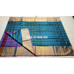 Uppada Checks Silk Saree with Big Border-Purple and Light Blue-Sitarini-USRHUPS147