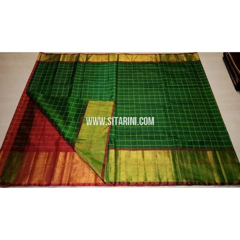 Uppada Checks Silk Saree with Big Border-Red and Bottle Green-Sitarini-USRHUPS155