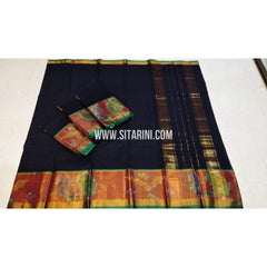 Uppada Cotton Saree-Black-Sitarini-SITUCS109