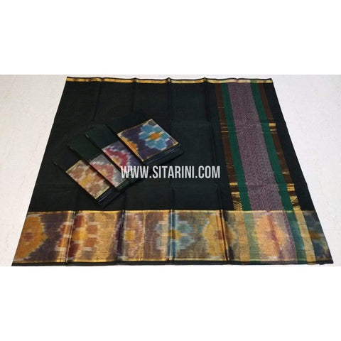 Uppada Cotton Saree-Black-Sitarini-SITUCS142