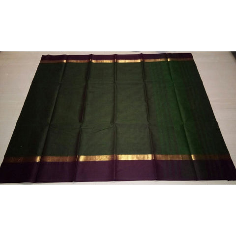 Uppada Cotton Saree-Bottle Green-Sitarini-USRHUCS107