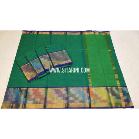 Uppada Cotton Saree-Green-Sitarini-SITUCS117