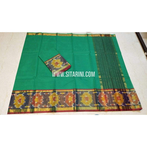 Uppada Cotton Saree-Green-Sitarini-SITUCS122
