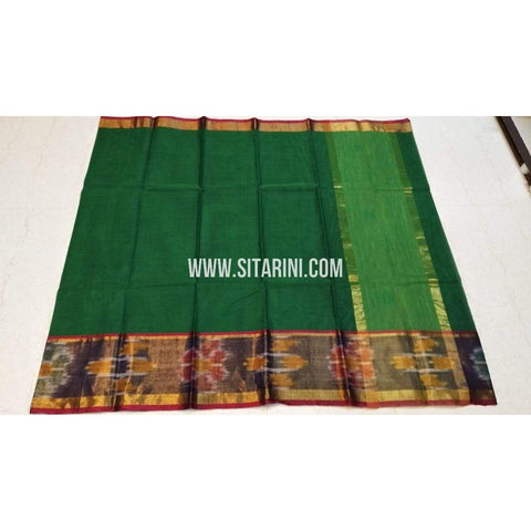 Uppada Cotton Saree-Green-Sitarini-SITUCS126