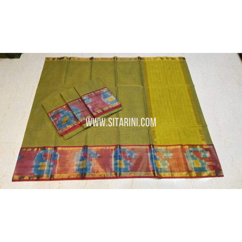 Uppada Cotton Saree-Green-Sitarini-SITUCS129