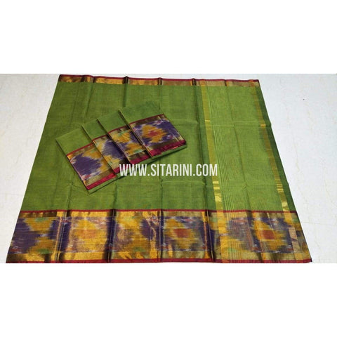 Uppada Cotton Saree-Green-Sitarini-SITUCS130