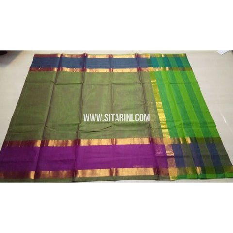 Uppada Cotton Saree-Light Green-Sitarini-USRHUCS155